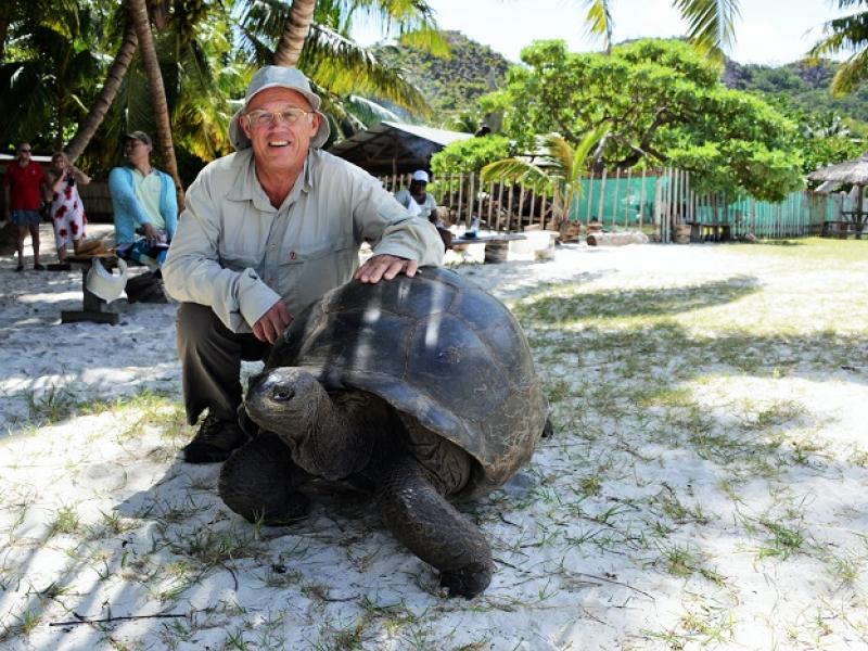 Ile Curieuse, Praslin (Seychelles) : tortue géante (2014)